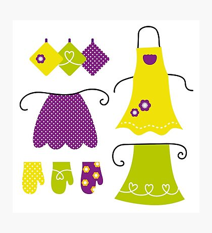 Stylized vintage apron collection - 60s and 70s Inspired Design Collection Photographic Print