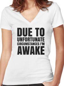 I am Awake - Black Text Women's Fitted V-Neck T-Shirt
