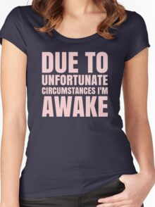 I'm Awake - Pink Text Women's Fitted Scoop T-Shirt