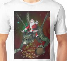 Funny Santa Claus with dragon Unisex T-Shirt