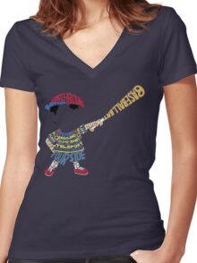 Ness Typography Women's Fitted V-Neck T-Shirt