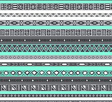 Bohemian Tiffany Aztec Tribal Pattern Print by RexLambo