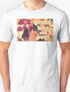 Flowered Hippie Pug Unisex T-Shirt