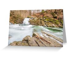 frozen waterfall in forest Greeting Card