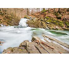 frozen waterfall in forest Photographic Print