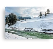 river through the village in winter Canvas Print