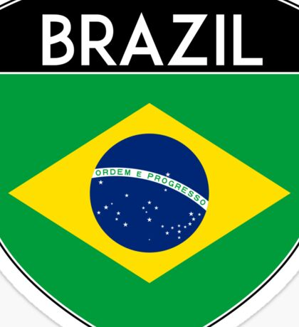 BRAZIL BRASIL FLAG CREST BADGE EMBLEM 2 Sticker