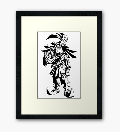 Majora's Mask - Skull Kid (Black) Framed Print