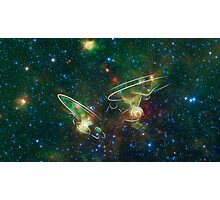 Enterprise Nebula With Outline of the Starships Photographic Print