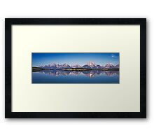 Sunrise Over Jackson Lake And Grand Teton Range. Framed Print