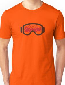 Reflected Mountains in Ski Goggles Unisex T-Shirt