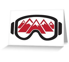 Reflected Mountains in Ski Goggles Greeting Card