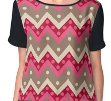 Chevrons and Dots, Coral Pink and Taupe Chiffon Top