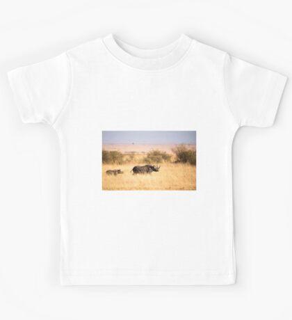 Rare Black Rhino Mother & Calf - Maasai Mara Kids Tee