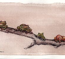 Spring Peepers - Original watercolor painting of tiny little forest frogs pinkletinks tinkletoes by Rebecca Rees