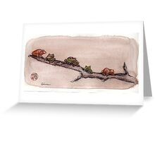 Spring Peepers - Original watercolor painting of tiny little forest frogs pinkletinks tinkletoes Greeting Card