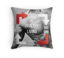 Healthy Living Infographic Throw Pillow