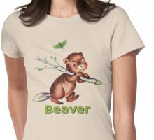 Smiling little beaver carrying a branch pattern Womens Fitted T-Shirt