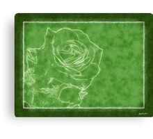 Pink Roses in Anzures 1 Outlined Green Canvas Print