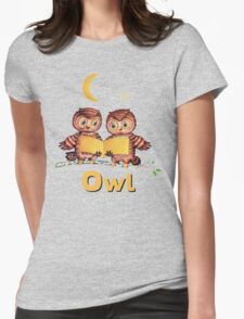 Cute Baby owls starry night pattern, moon Womens Fitted T-Shirt