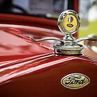 Ford Motometer Hood Ornament - Red / Yellow by Mike Koenig