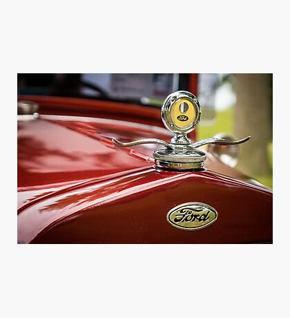 Ford Motometer Hood Ornament - Red / Yellow Photographic Print