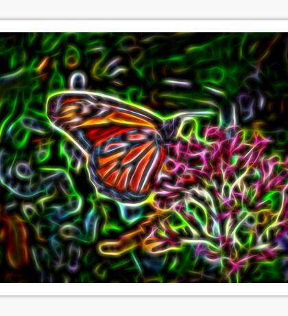 Schmetterling und Blumen - digitales Kunstwerk Sticker