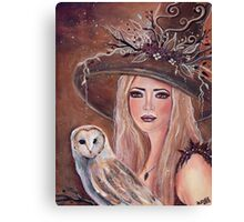 Willow woodland witch with owl by Renee L lavoie Canvas Print