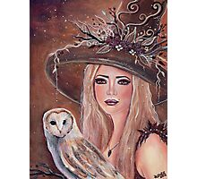 Willow woodland witch with owl by Renee L lavoie Photographic Print