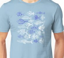 Inked Fish on Turquoise Unisex T-Shirt