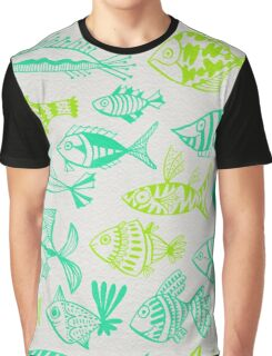 Green Inked Fish Graphic T-Shirt