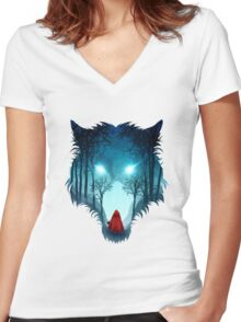 Big Bad Wolf (dark version) Women's Fitted V-Neck T-Shirt