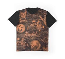 Black & Orange Haunted Halloween Graphic T-Shirt