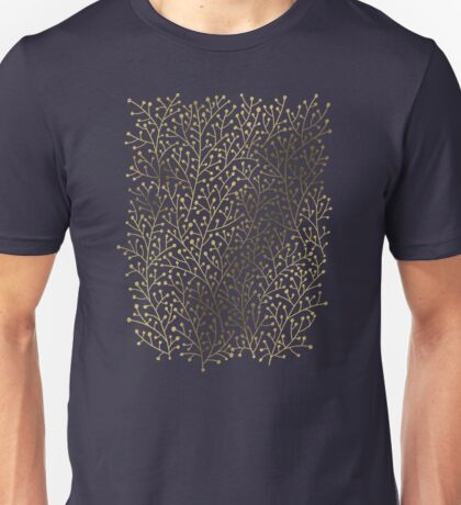 Gold Berry Branches on Navy Unisex T-Shirt