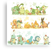 All Starter Pokemon From All Generations Canvas Print