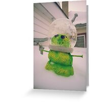 Green Alien Snowman Invader Greeting Card