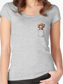 Monkey D. Luffy in my pocket! Women's Fitted Scoop T-Shirt