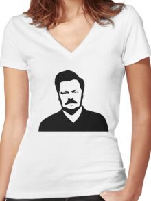 Ron Swanson - Parks and Recreation Women's Fitted V-Neck T-Shirt