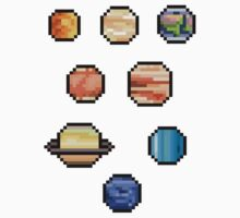 Mini Pixel Planets - Set of 8 by pixelatedcowboy