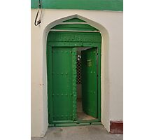 Green door, Zanzibar Photographic Print