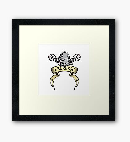 Knight Armor Lacrosse Stick Woodcut Framed Print