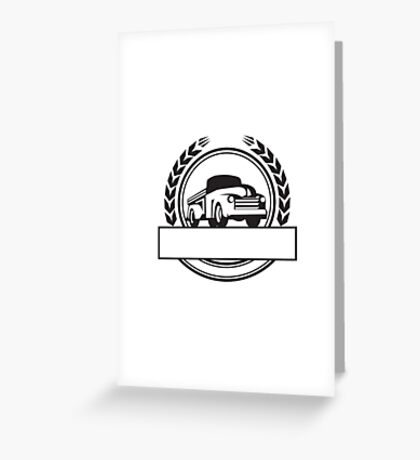 Vintage Pick Up Truck Black and White Retro Greeting Card