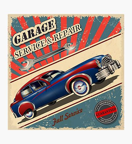 Vintage Garage Logo Photographic Print