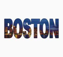 Boston Skyline at Night Lettering by mindyjhicks