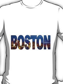 Boston Skyline at Night Lettering T-Shirt