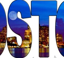 Boston Skyline at Night Lettering Sticker