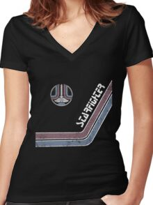 Starfighter Arcade Cabinet Women's Fitted V-Neck T-Shirt