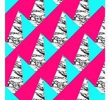 Modern Pink Teal Black White Marble Geometric Photographic Print