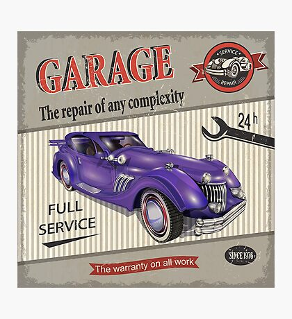 Vintage Garage Logo 2 Photographic Print