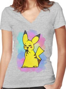 Choco-pika! Women's Fitted V-Neck T-Shirt